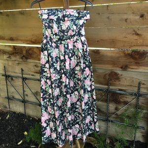 Vintage Laura Ashley strapless floral maxi dress